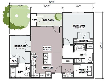 1,033 sq. ft. Hays/50% floor plan