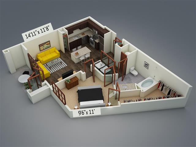 790 sq. ft. A7 floor plan