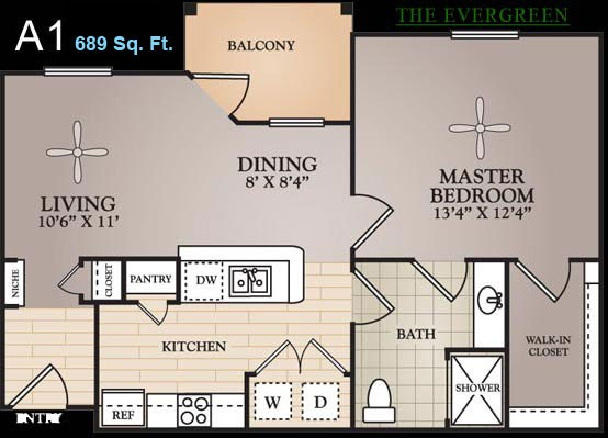 689 sq. ft. Chardin floor plan