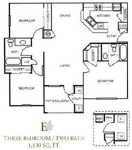 1,130 sq. ft. E/60% floor plan