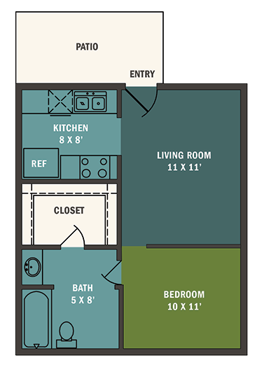 414 sq. ft. E1 floor plan