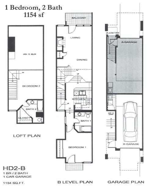 1,154 sq. ft. SB1 floor plan