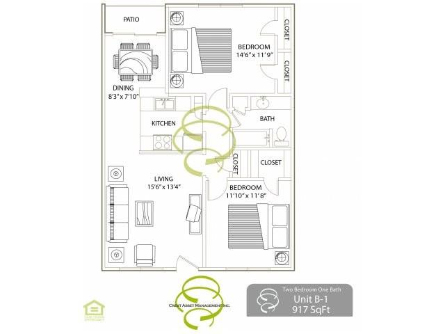 917 sq. ft. B1 floor plan