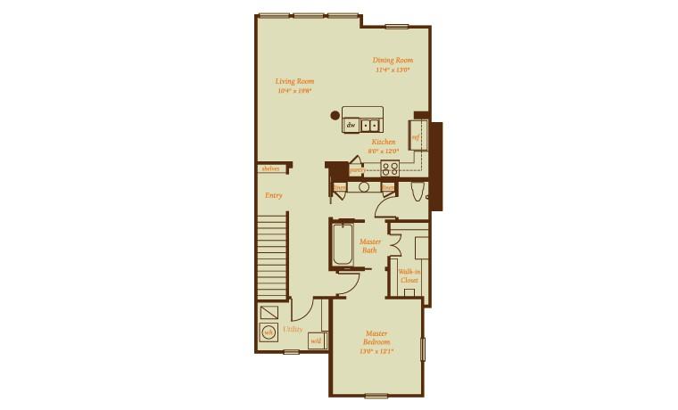 1,162 sq. ft. Adaja floor plan