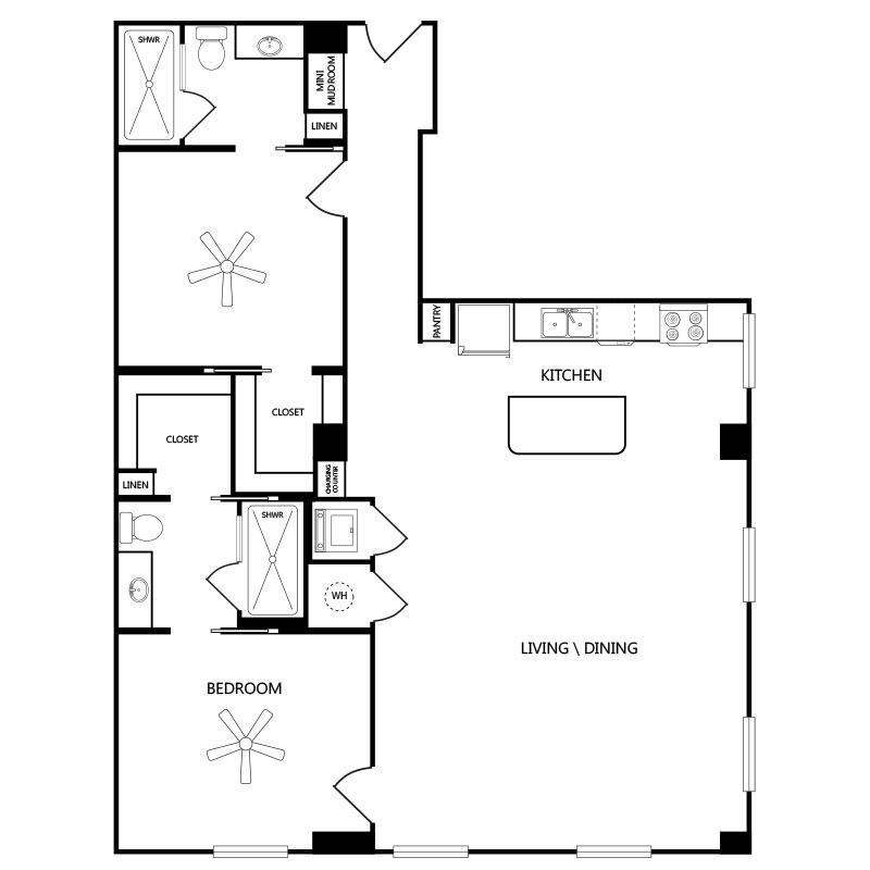 1,295 sq. ft. B1 floor plan