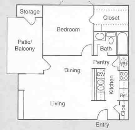 582 sq. ft. A2 floor plan