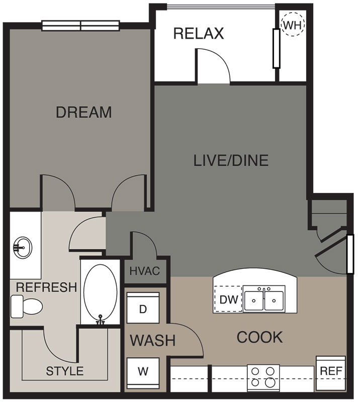 705 sq. ft. Austin floor plan