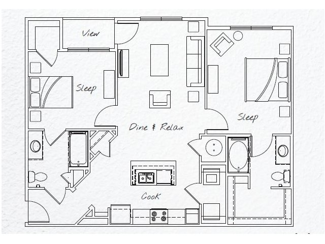 1,093 sq. ft. B1 floor plan