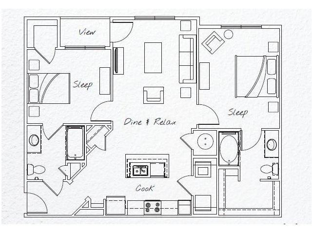 1,093 sq. ft. B1 floor plan