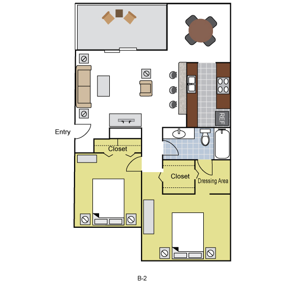1,091 sq. ft. B2 floor plan