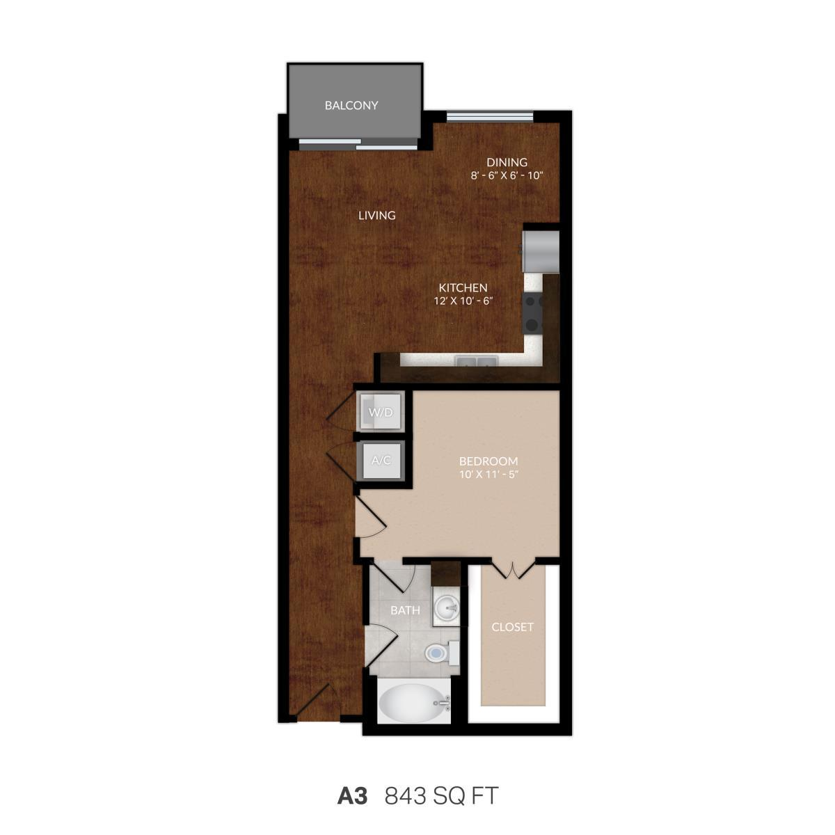 799 sq. ft. A3 floor plan
