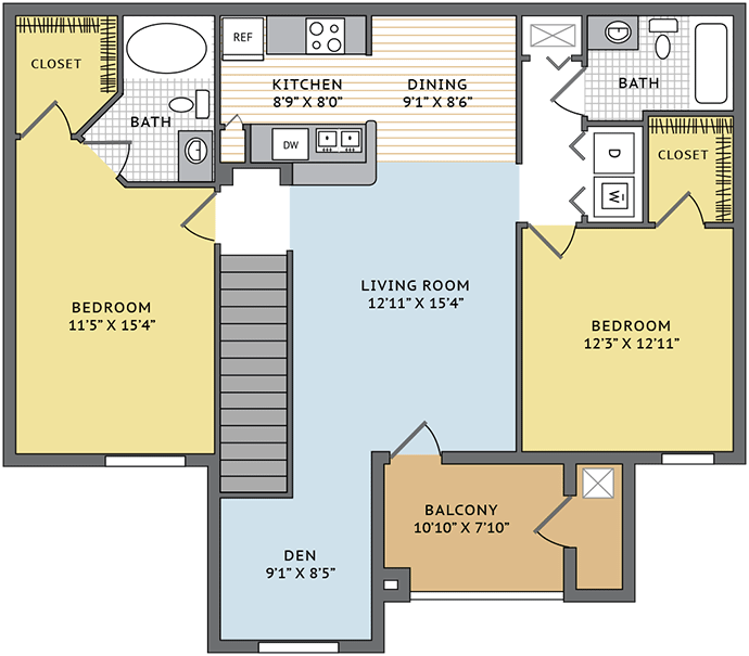 1,211 sq. ft. B1D floor plan