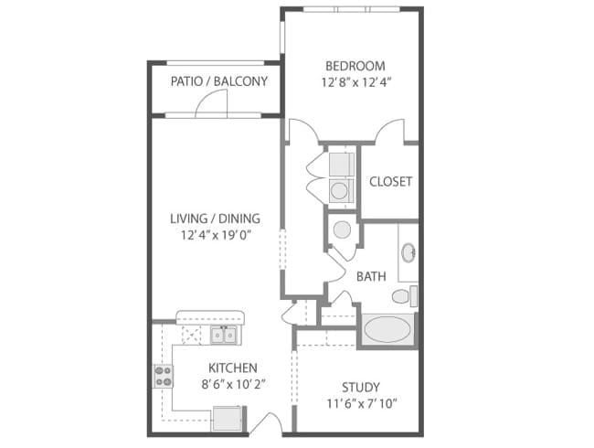 922 sq. ft. Taliesin/A5S floor plan