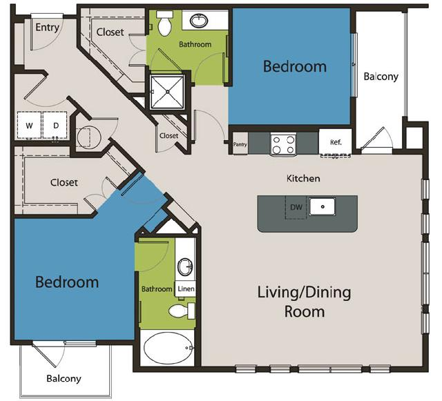 1,224 sq. ft. B2.2 floor plan