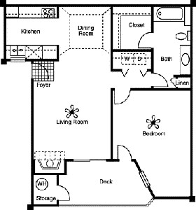 738 sq. ft. A1 floor plan