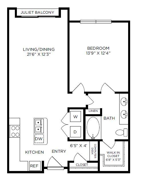 857 sq. ft. Buckingham floor plan