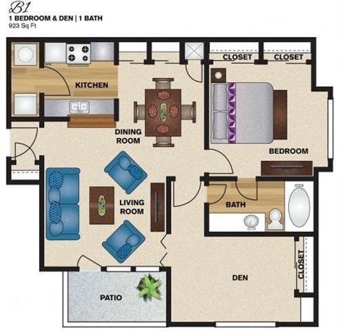 923 sq. ft. B1 floor plan