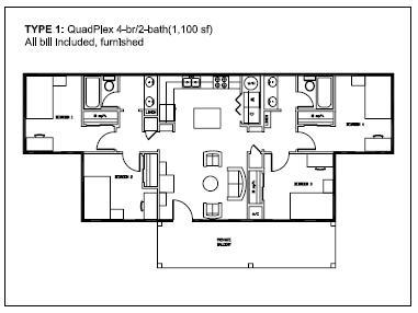 1,100 sq. ft. Type 1 floor plan