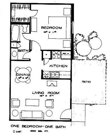650 sq. ft. C floor plan
