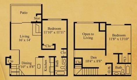 1,060 sq. ft. B-2TH floor plan