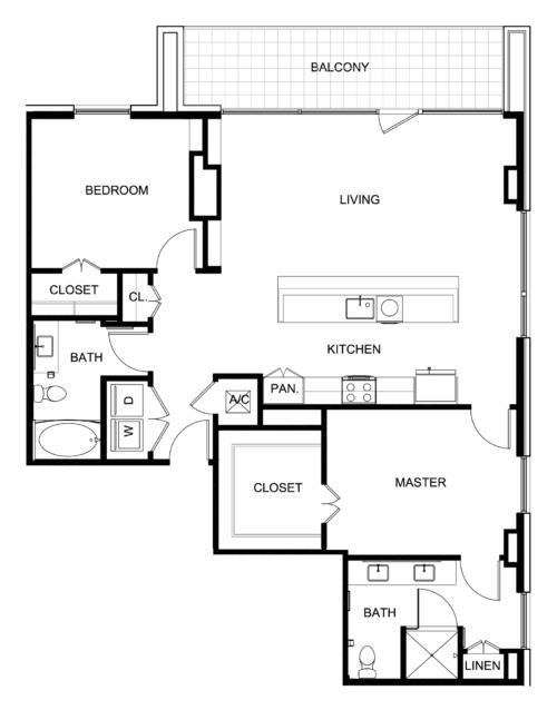 1,362 sq. ft. B6 floor plan