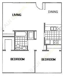 832 sq. ft. C floor plan