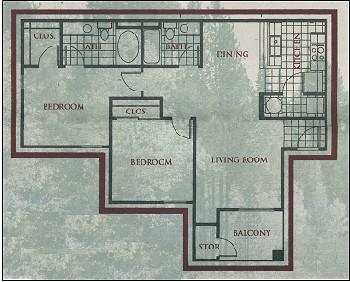 976 sq. ft. Breckenridge floor plan