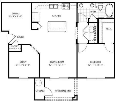 905 sq. ft. Gabriel floor plan