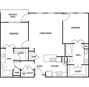 1,038 sq. ft. L2C floor plan