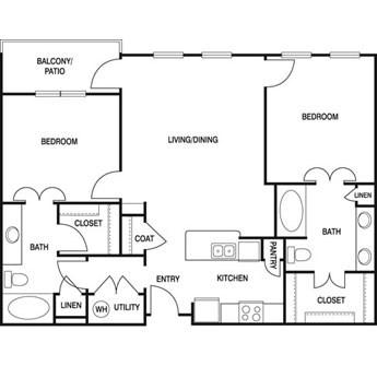 1,038 sq. ft. Z2C floor plan