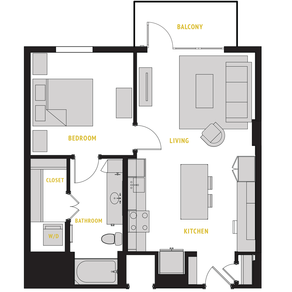 764 sq. ft. A4 floor plan