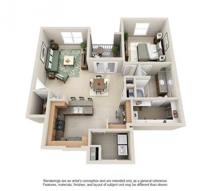 942 sq. ft. Elm floor plan