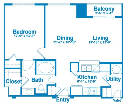 786 sq. ft. AT1A floor plan