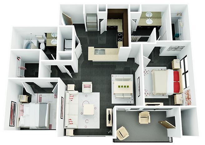 1,056 sq. ft. B1 floor plan