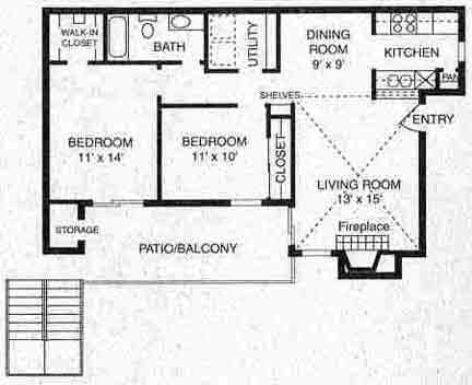 853 sq. ft. B-1 floor plan