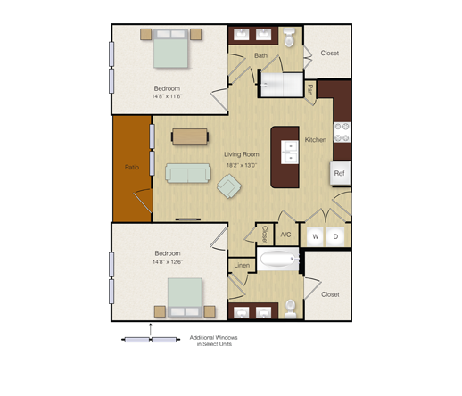 1,046 sq. ft. B1 floor plan