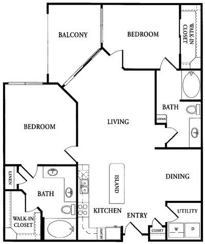 1,198 sq. ft. CC2 floor plan