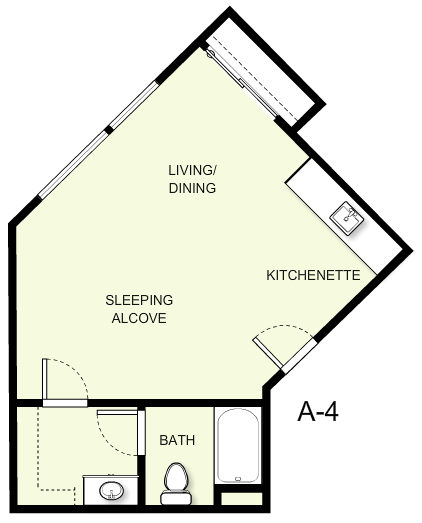 476 sq. ft. A4 floor plan