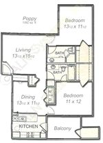 1,082 sq. ft. Poppy floor plan