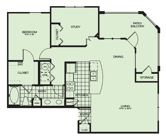 990 sq. ft. St Andrews floor plan