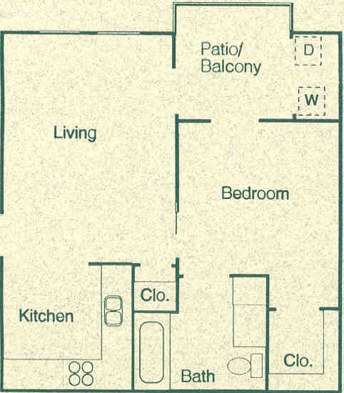 501 sq. ft. A1 floor plan