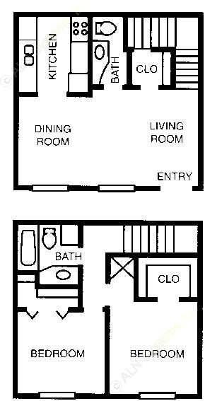 858 sq. ft. 60% floor plan