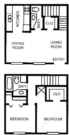 858 sq. ft. 60% floor plan