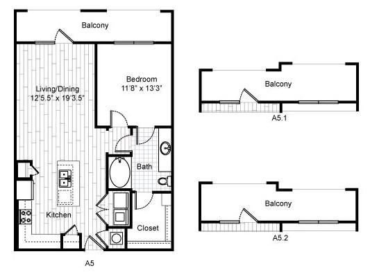 825 sq. ft. A4 floor plan