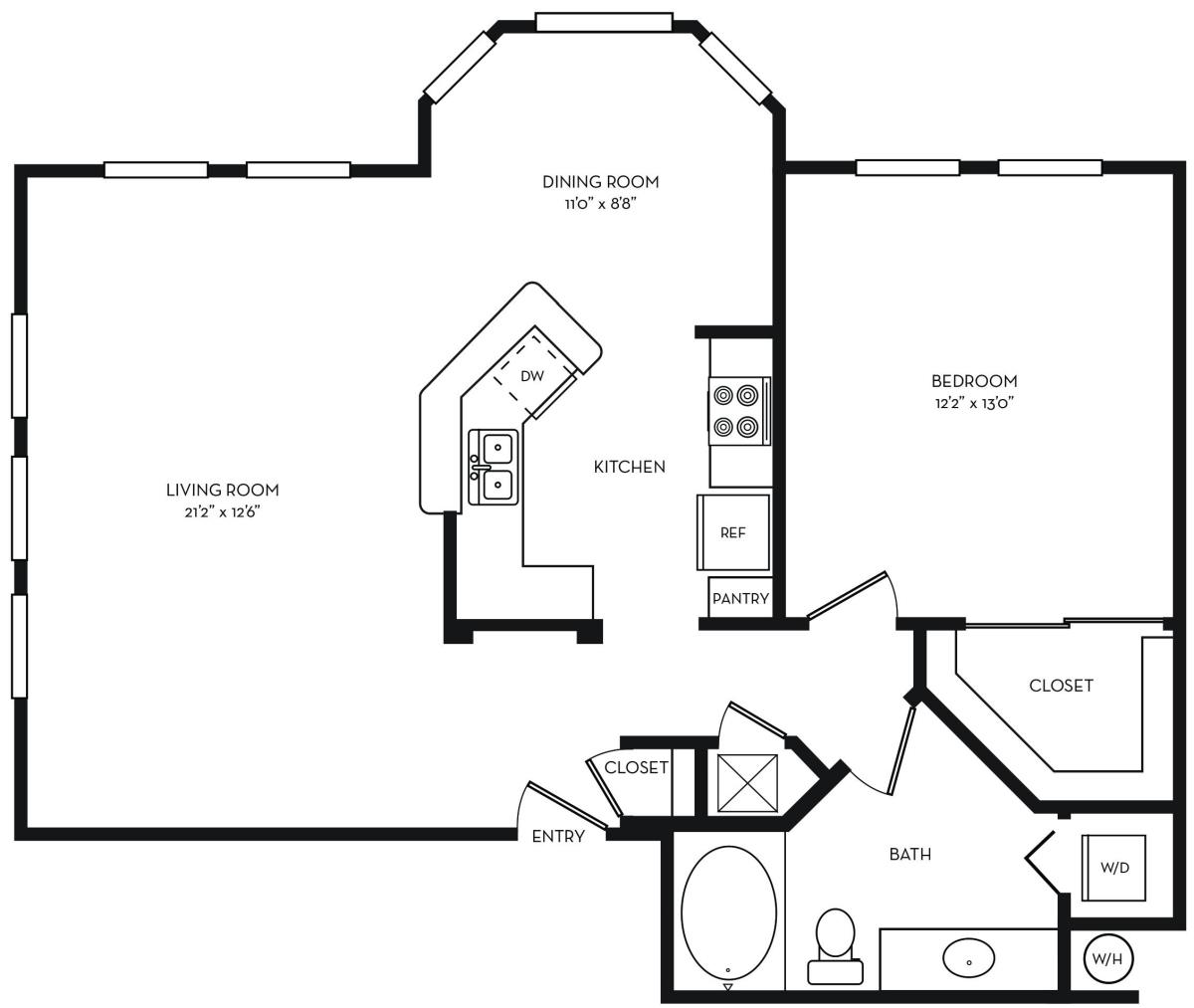 924 sq. ft. A3 floor plan