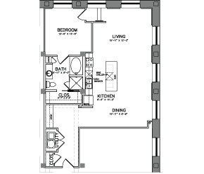 1,114 sq. ft. A14 floor plan