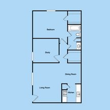 830 sq. ft. 1-1M floor plan