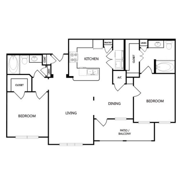 1,176 sq. ft. B3 floor plan