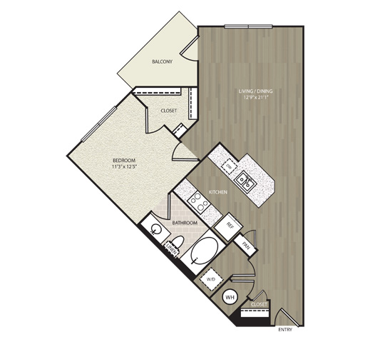 744 sq. ft. A16 floor plan