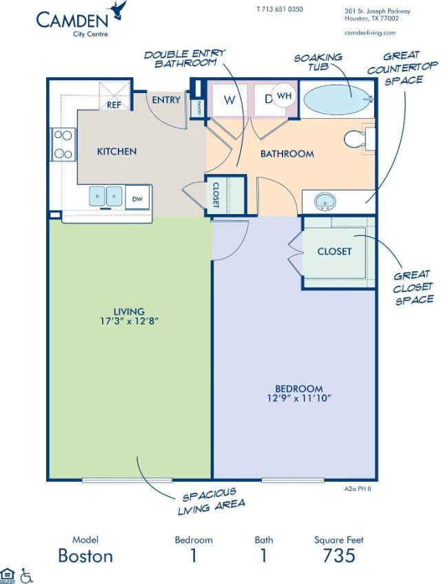 735 sq. ft. BOSTON floor plan